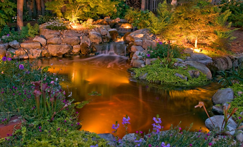Water feature with lighting